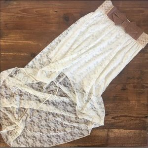 Anthropologie shabby chic, boho lace skirt